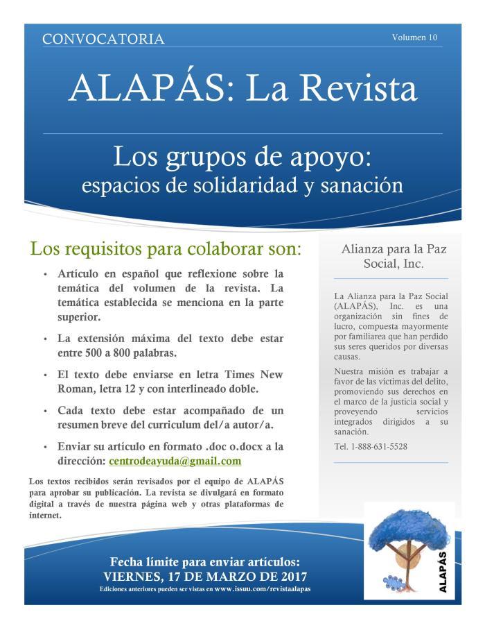 Convocatoria para el 10mo Volumen de ALAPÁS: La Revista – Alianza ...